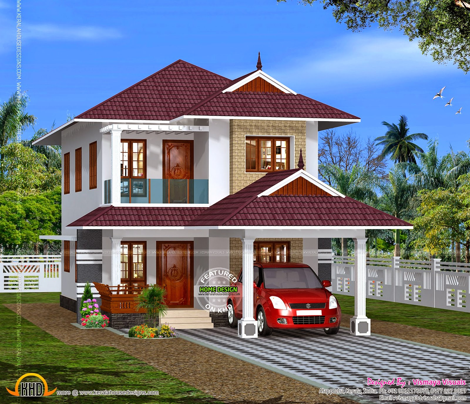 Clean box type house exterior keralahousedesigns for Types house designs