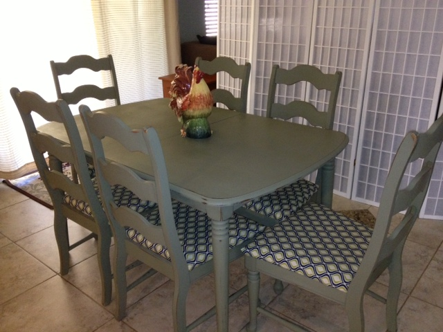 item beautifully redone dining table with 6 ladder back chairs