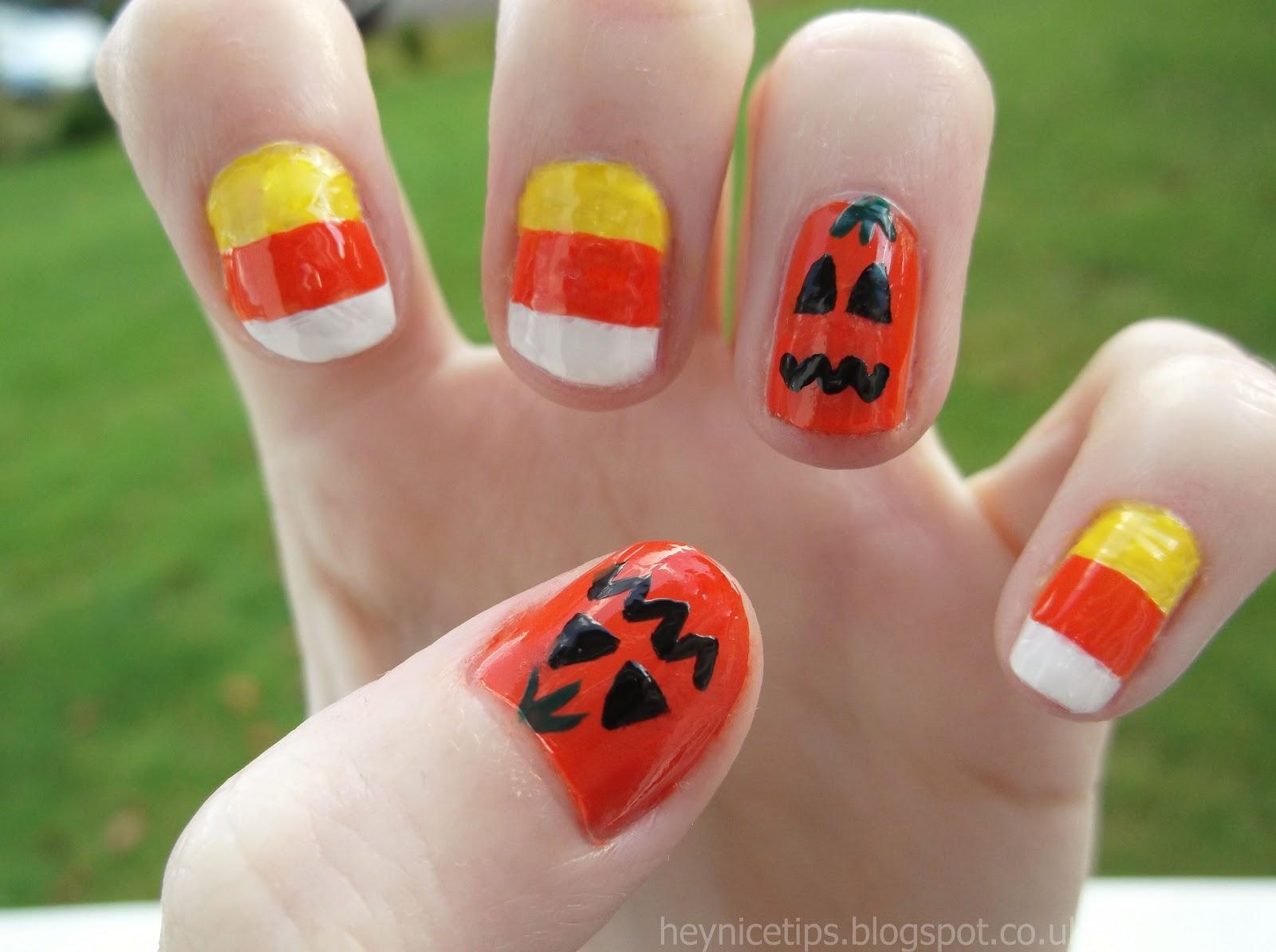 Hey Nice Tips Candy Corn Pumpkin Nails