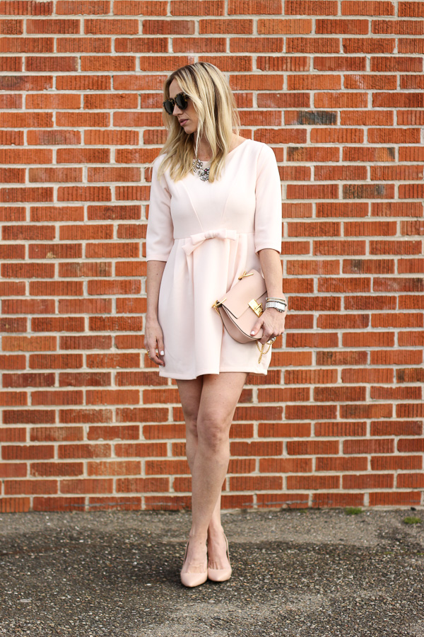 blush bow dress nude pumps