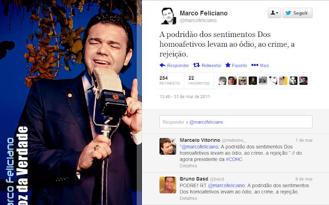Tuíte do Pastor Marco Feliciano contra homossexuais