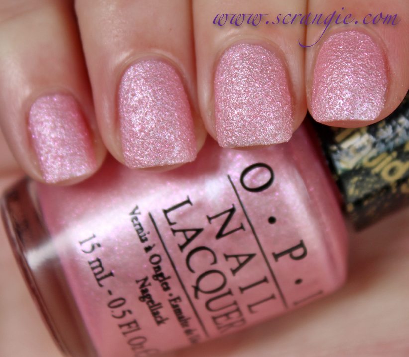 Opi Liquid Sand Polish In Galore Light Slightly Blue Toned Pink Pearl Base With Fuchsia Glitter And Grit I Like The Way