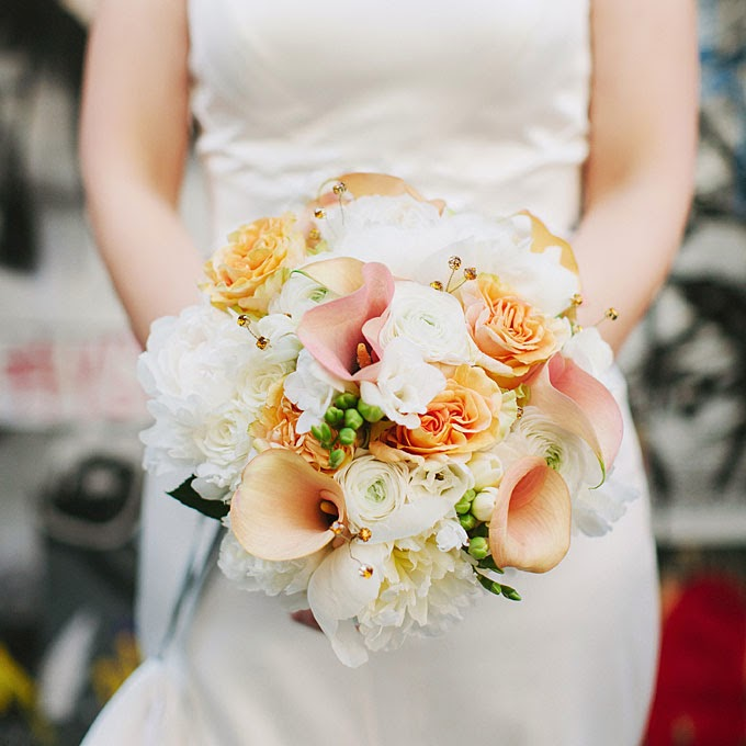 Orang And White Calla Lily Rose Wedding Bouquet