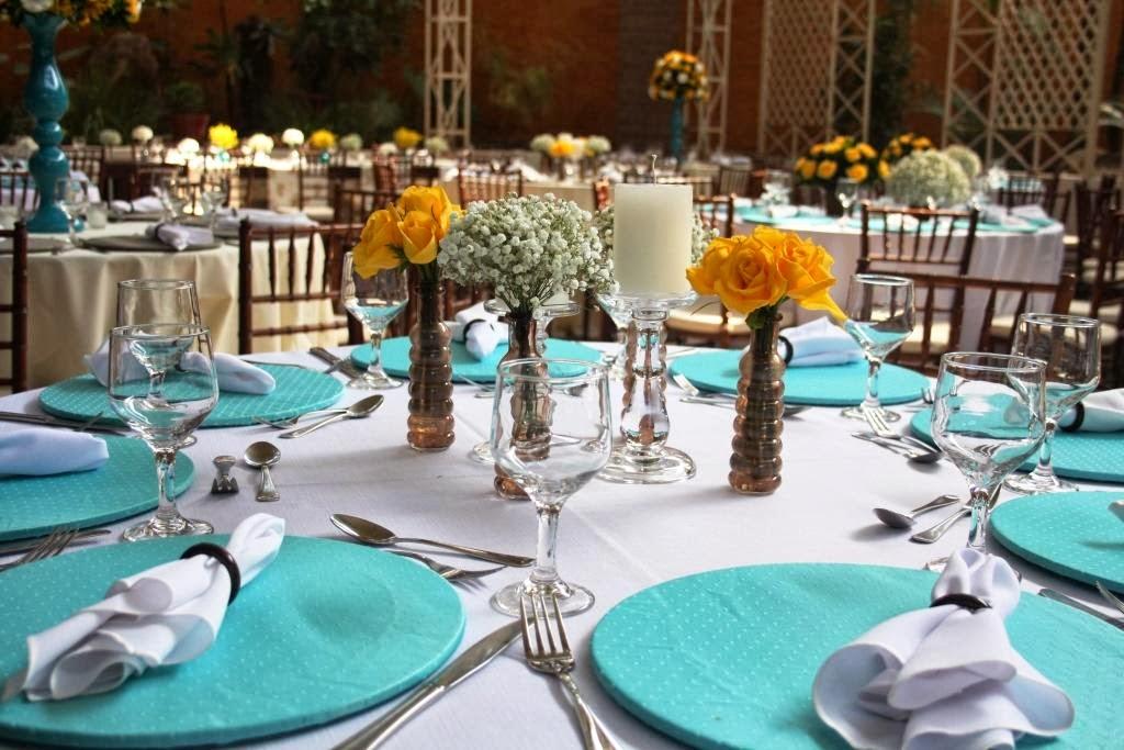 decoracao de casamento azul tiffany e amarelo : decoracao de casamento azul tiffany e amarelo:coloridas e duo de castiçais de vidro unitários com velas para