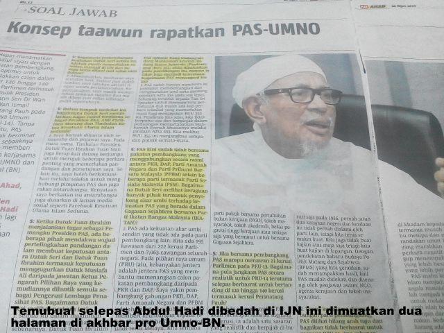 """"""" PASNO """" TERBUKTI ADALAH KONSEB """" TAAWUN"""" ATAU KERJASAMA , SENGGAMA;  POLITIK PAS DENGAN UMNO !"""
