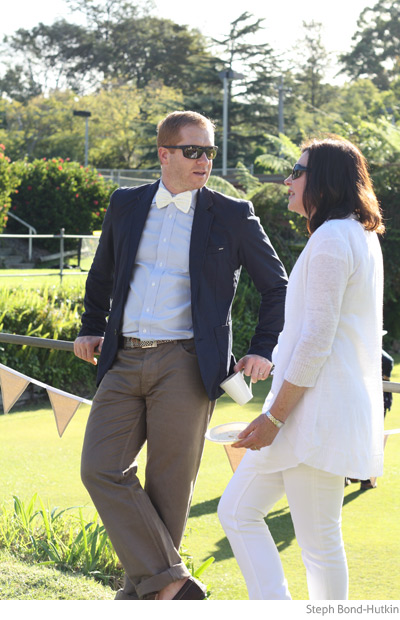 Chatting at my croquet birthday party