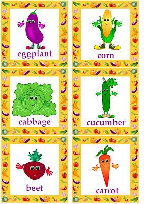 vegetable flashcards English language