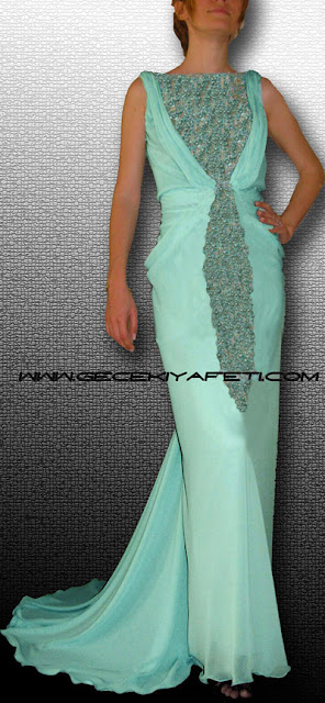 Su yeşili gece elbiseleleri özel tasarım su yeşili gece kıyafetleri