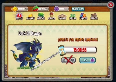 imagen del dark elf dragon a 75 gemas en dragon city