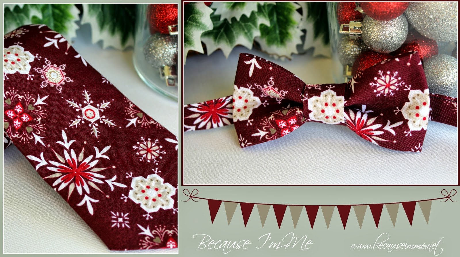 Because I'm Me burgandy snowflakes cotton bow and neck ties, for winter and Christmas
