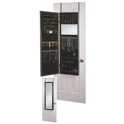 Mirrotek Over the Door Jewelry Armoire Mirror Cabinet in Black