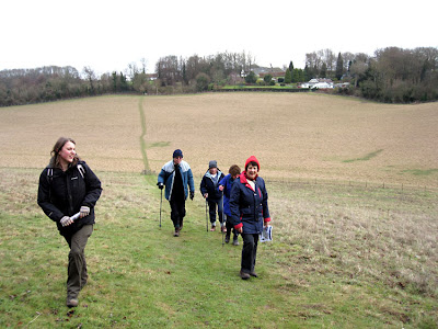 Jenny Price (left) with a walking group on the southern part of the Green Street Green circular walk