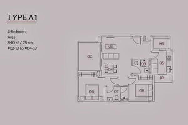 Village @ Pasir Panjang 2 Bedroom Floor Plan