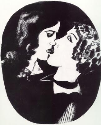 COUPLES ET DUOS: Le baiser sur la bouche en peinture