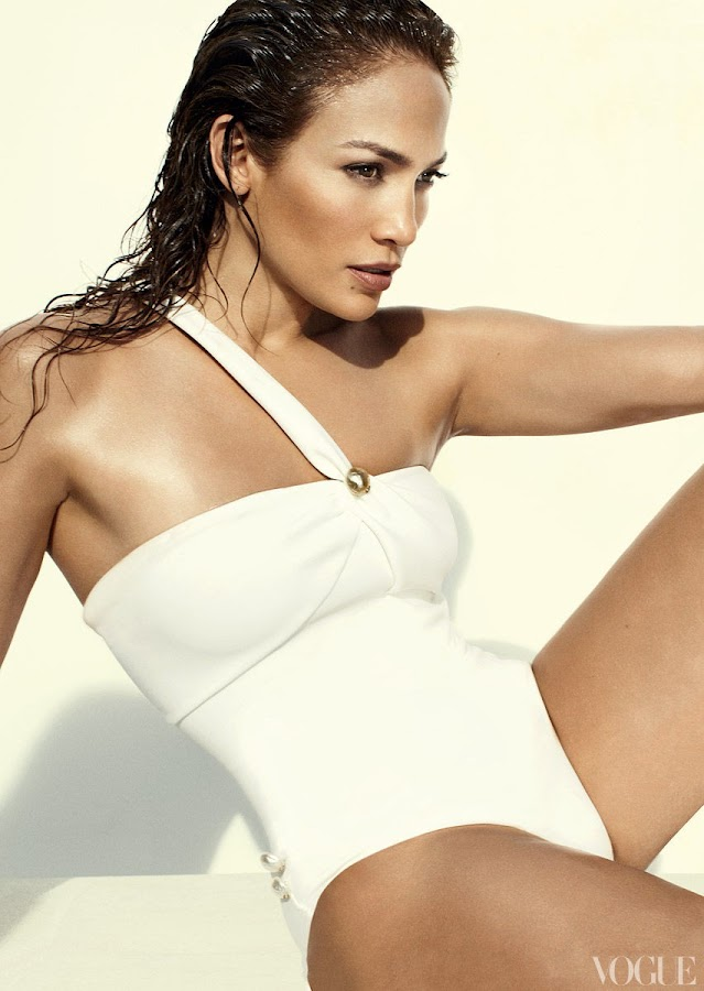 Jennifer Lopez in a white classy swim suit for Vogue Magazine June 2012