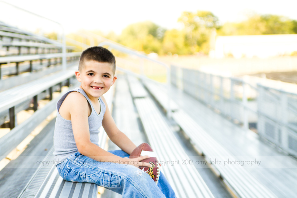 photo of boy with football - Clinton Indiana Photographer