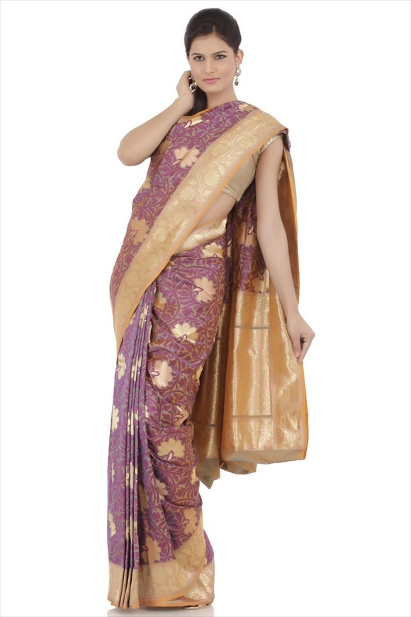 Dusky Brown Kattan Silk Banarasi Saree