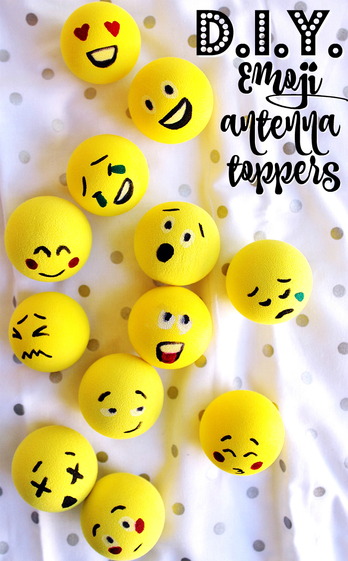 D.I.Y Emoji Antenna Toppers idea for a car care gift perfect for any new driver or new car owner! #LoveAmericanHome (ad)