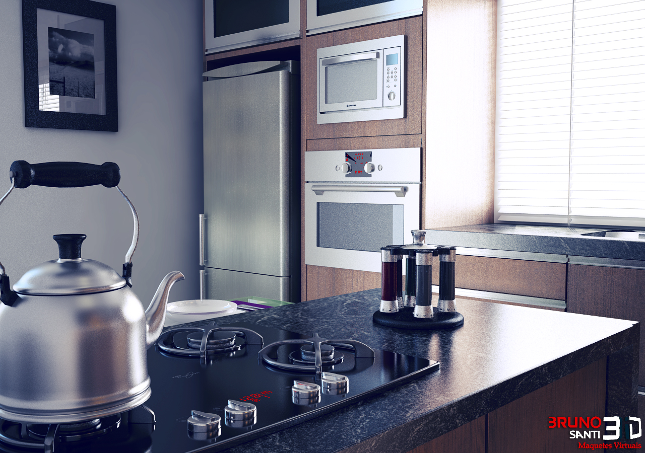 Maquete Eletronica Bruno Santi 3D: Projeto Cozinha Modulada #7E1117 1280 900