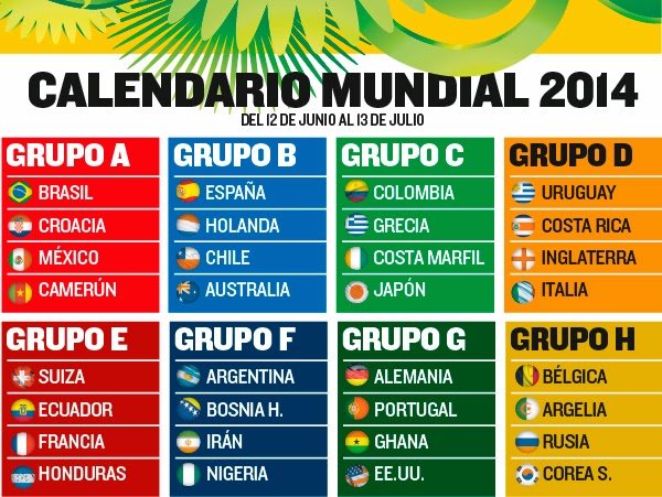 Calendario y Horarios Mundial 2014 Brasil España Calendar & Schedule 2014 FIFA Football World Cup Timetable