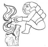 Ancient master processing granite with hand tools. Olmec Indians Art of Ancient America.