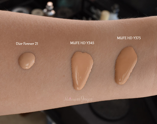 MUFE HD Foundation Y375 Y345 Swatches