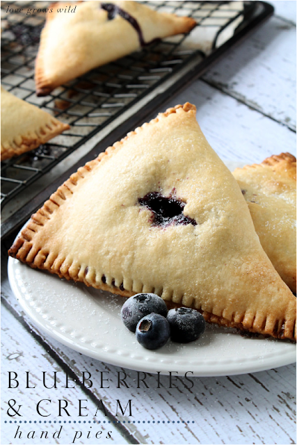LoveGrowsWild.com | Blueberries and Cream Hand Pies - the perfect dessert to pack and travel! #dessert #pie #fruit