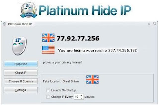 Use Platinum Hide IP to keep your real IP address hidden, surf anonymously,