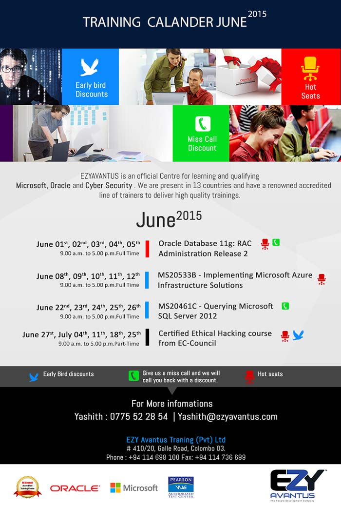 Oracle Microsoft Hacking Trainings at EZY Avantus - Hune 2015 Training Calender.