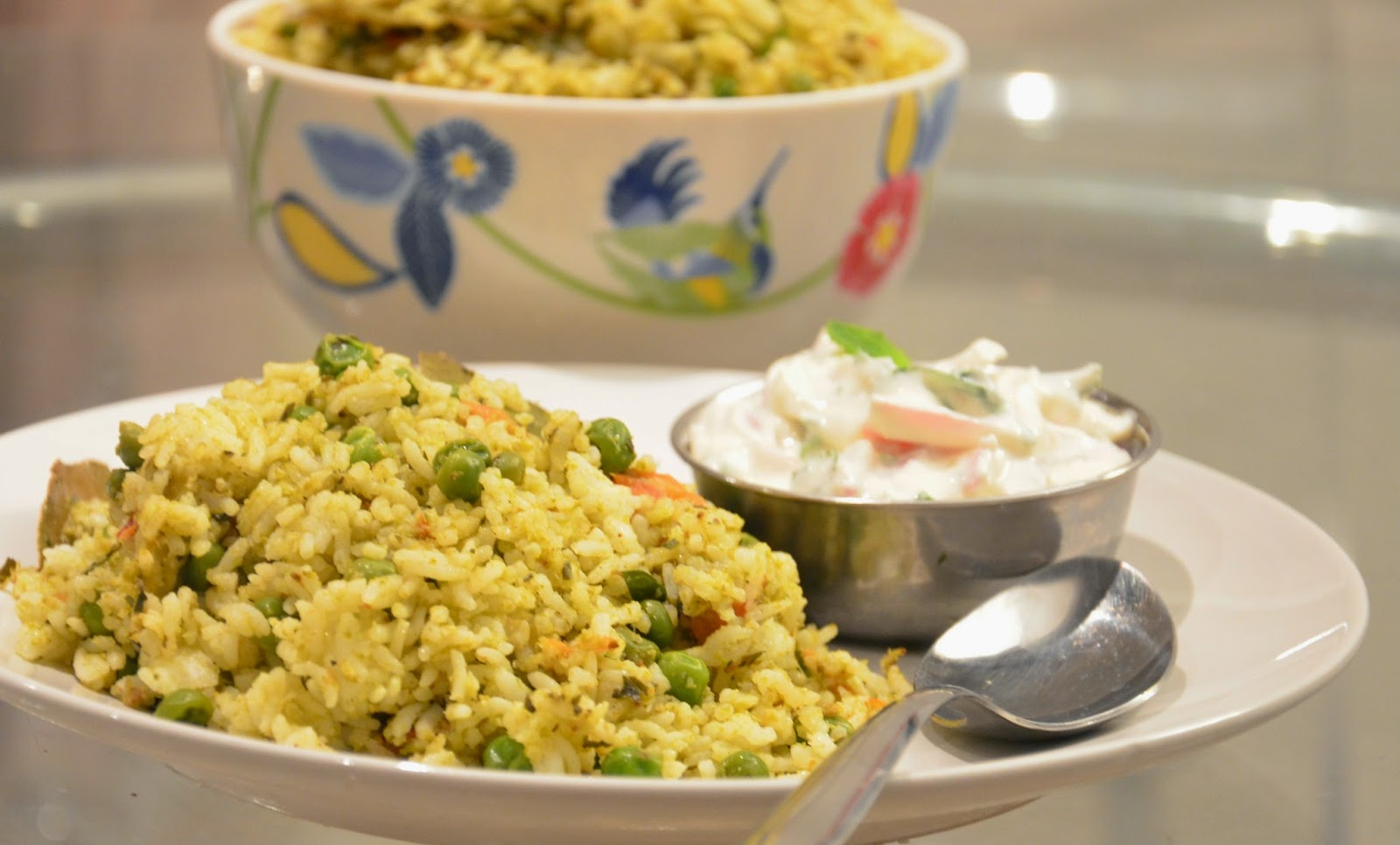 rice with fenugreek leaves, rice recipe, menthya bhath, pudina bhath, mint pulav, green pulao