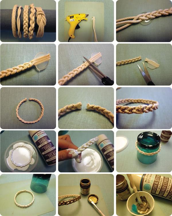 tutorial pulsera cuerda metalizada · rope bangles diy