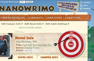 Camp NaNoWriMo progress screenshot
