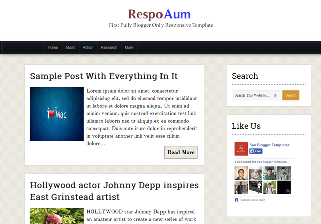 RespoAum free blogger template download