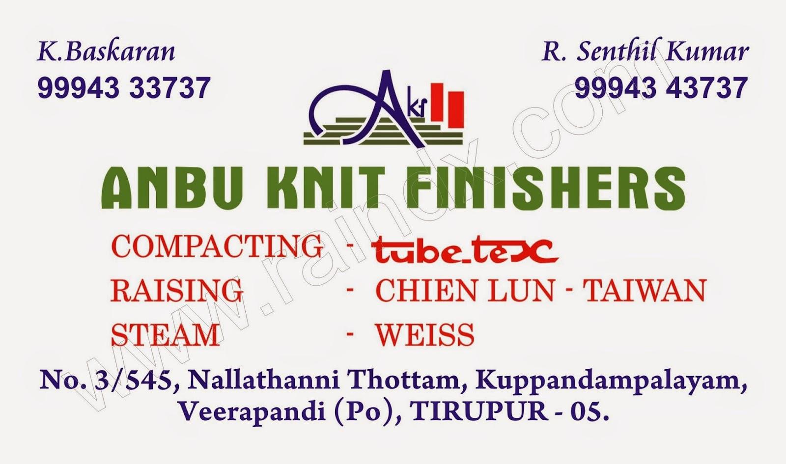 Textile Business card ::: Anbu Knit Finishers ::: TIRUPUR - Rain ...