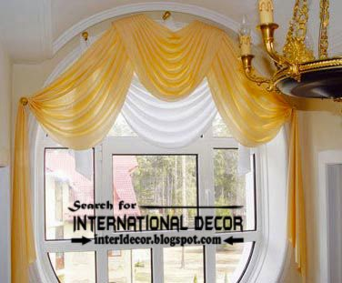 Stylish yellow swag curtains, arched window treatments, arched curtains, yellow curtains