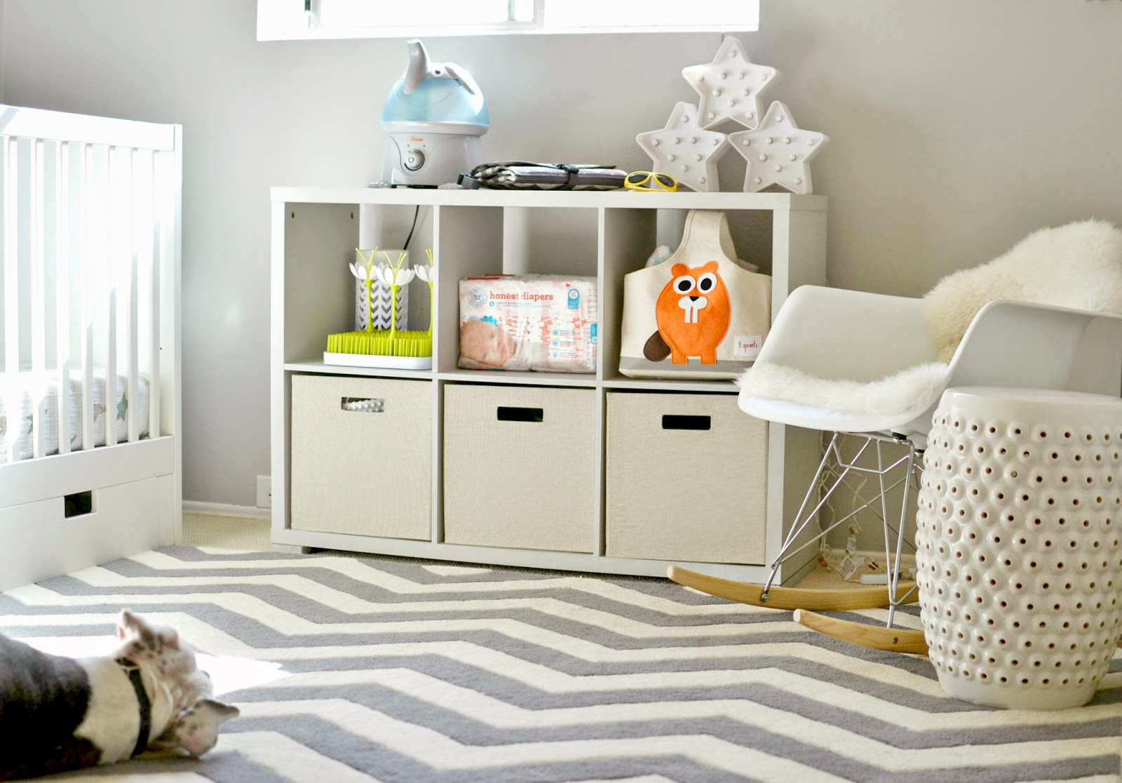 Nursery tour, nursery on a budget, Aden and Anais, IKEA crib, rock n play sleeper