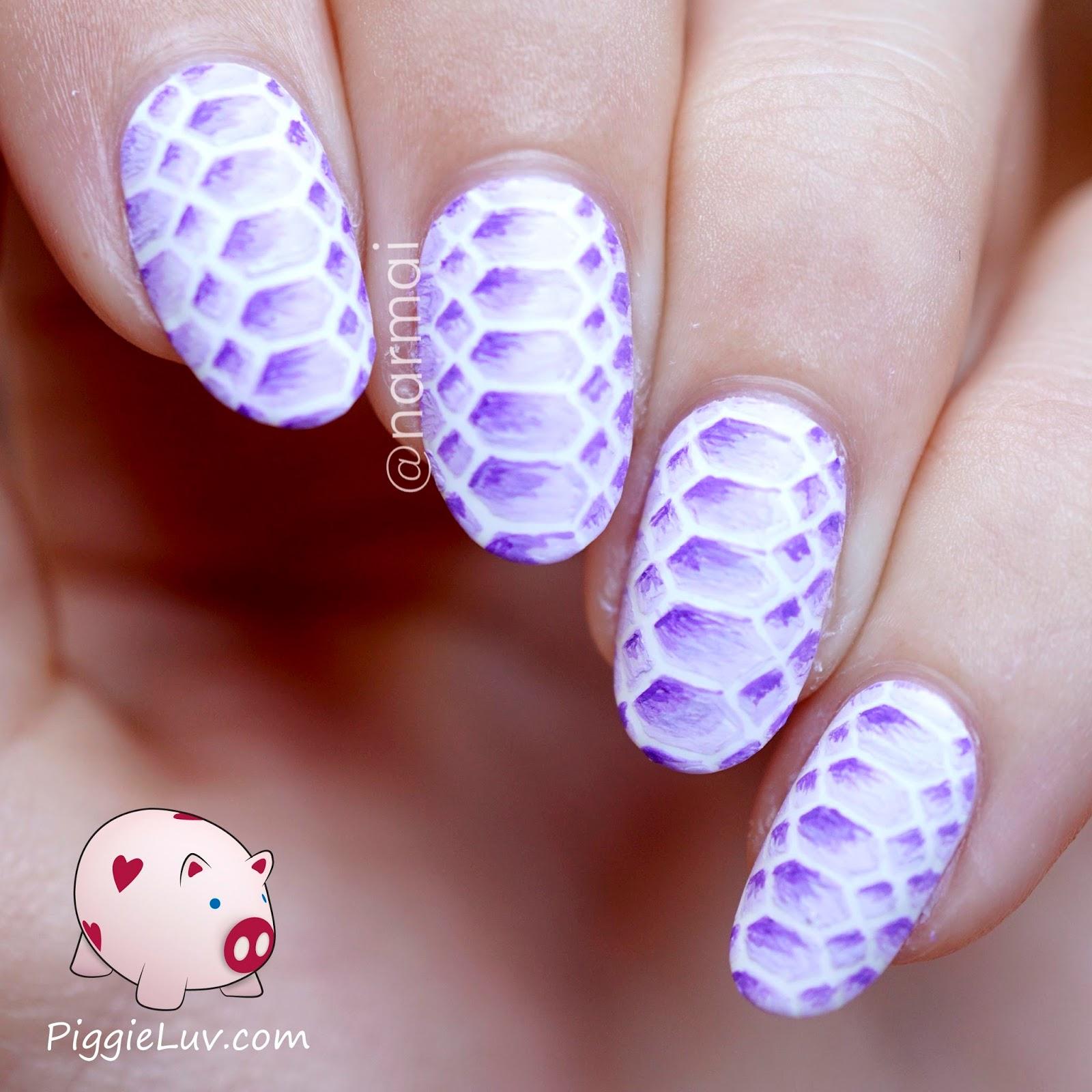 Piggieluv Freehand Purple Snake Skin Nail Art