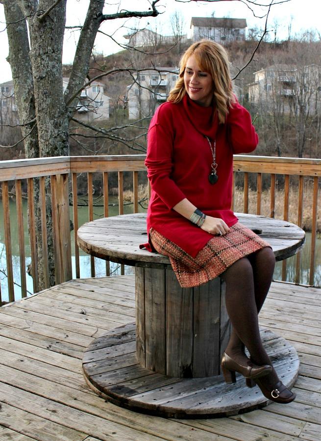 tweed skirt, red sweater