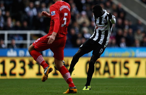 Newcastle striker Papiss Demba Cissé scores with an unstoppable volley against Southampton