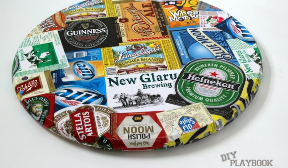 Add more labels as needed to cover spots: DIY Beer Tray | DIY Playbook