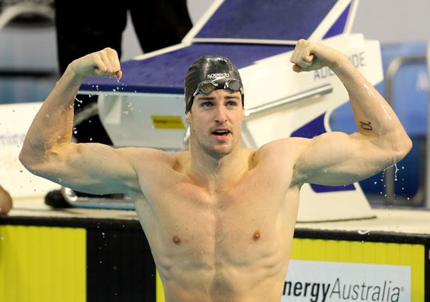 O australiano James Magnussen, de 21 anos, é adversário de Cesar Cielo nas piscinas. No começo deste ano, na disputa pré-olímpica, ele quase bateu o recorde do brasileiro nos 100 m: teve a marca de 47s10, ficando a 19 centésimos de Cielo (Foto: Ezra Shaw/Getty Images)