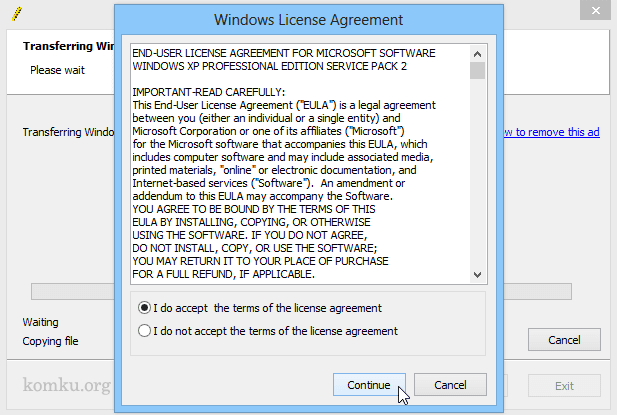 Windows License Agreement