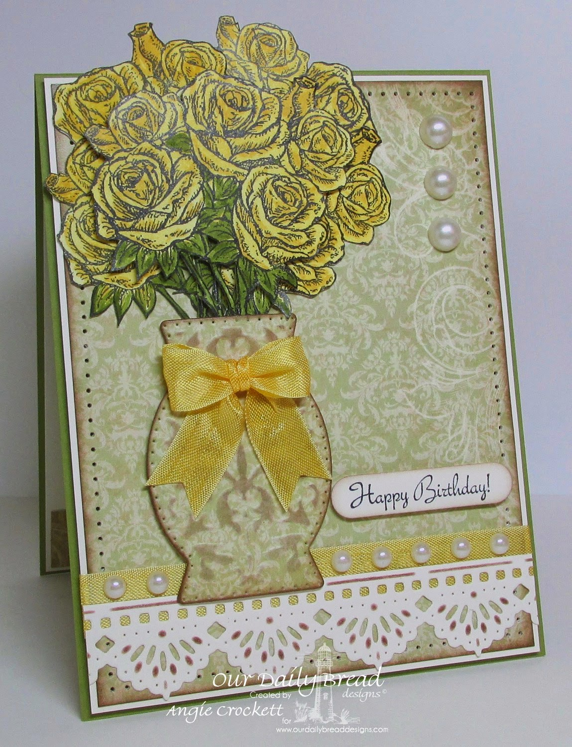 ODBD Rose Bouquet, ODBD Custom Decorative Vase Die, ODBD Custom Beautiful Borders Die Set, Card Designer Angie Crockett