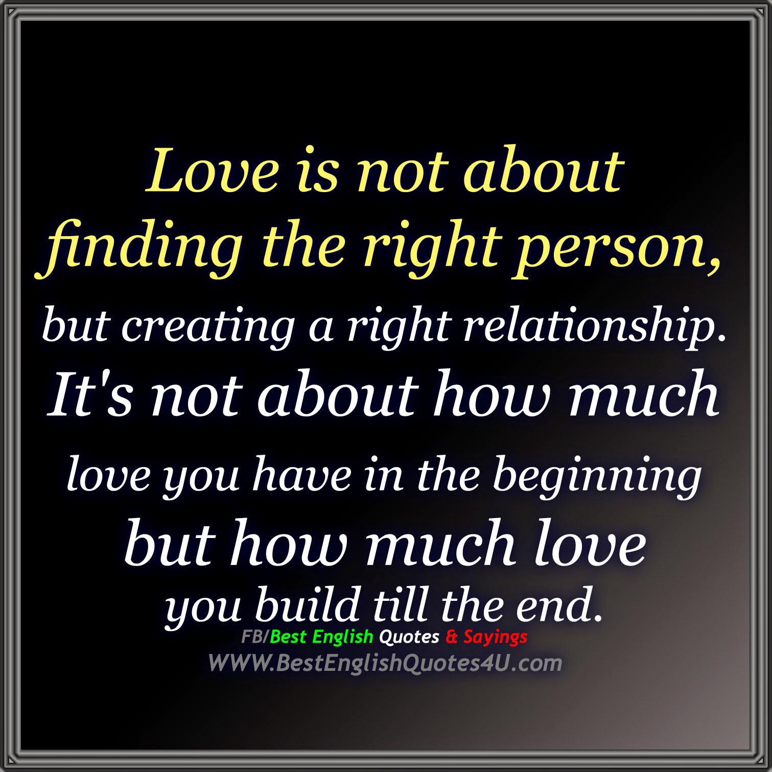 Quotes About How Much I Love You Love Is Not About Finding The Right Person Best'english