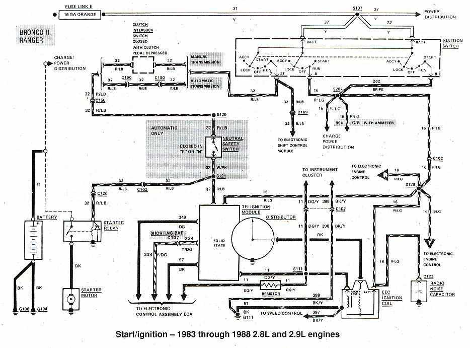 ford bronco ii and ranger start ignition wiring diagram ford bronco ii and ranger 1983 1988 start ignition wiring diagram