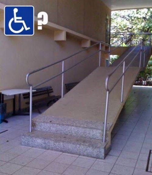 wheel chair disabled access ramp with 2 steps at the bottom