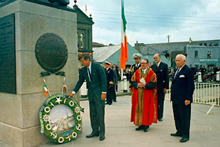 President John F. Kennedy lays a wreath at the John Barry Memorial in New Ross, Co. Wexford during his visit in June, 1963.