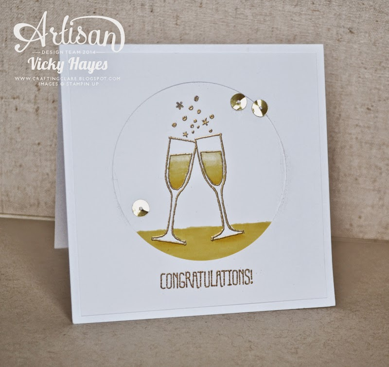 Champagne and sequins from Stampin' Up for a handmade celebration card!