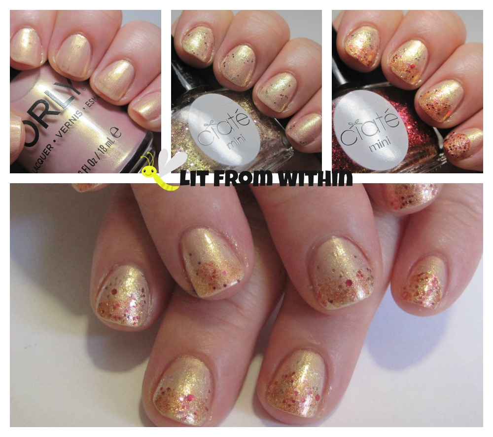 A glitter gradient with Orly Gilded Coral, Ciate Antique Brooch, and Ciate Love Letter.