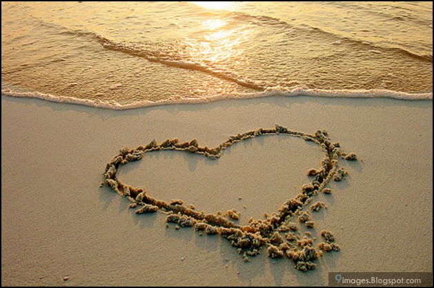 Heart, sand, beach, art, cute